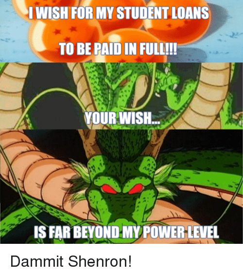 paid in full: I WISH FOR MY STUDENTLOANS  TO BE PAID IN FULL!!!  YOUR WISH  ISFARBEYOND MY POWER LEVEL Dammit Shenron!