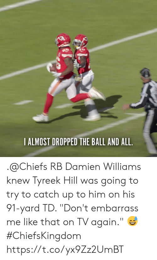 """Memes, Chiefs, and 🤖: IALMOST DROPPED THE BALL AND ALL .@Chiefs RB Damien Williams knew Tyreek Hill was going to try to catch up to him on his 91-yard TD.   """"Don't embarrass me like that on TV again."""" 😅   #ChiefsKingdom https://t.co/yx9Zz2UmBT"""