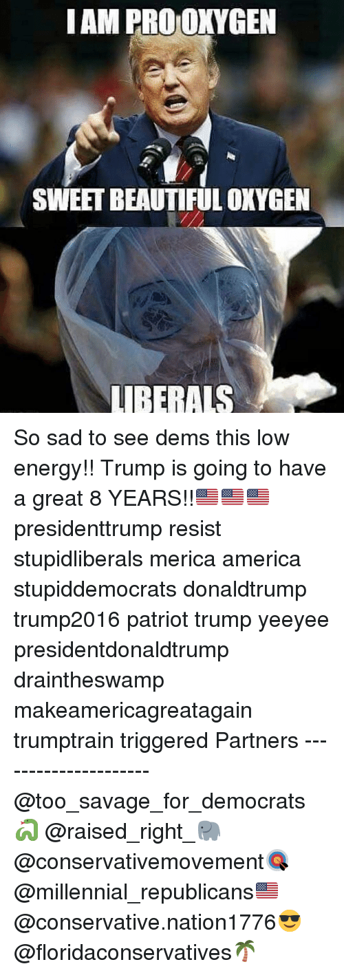 Yeeyee: IAM PRO OKYGEN  SWEET BEAUTIFUL OXYGEN  LUIBERALS So sad to see dems this low energy!! Trump is going to have a great 8 YEARS!!🇺🇸🇺🇸🇺🇸 presidenttrump resist stupidliberals merica america stupiddemocrats donaldtrump trump2016 patriot trump yeeyee presidentdonaldtrump draintheswamp makeamericagreatagain trumptrain triggered Partners --------------------- @too_savage_for_democrats🐍 @raised_right_🐘 @conservativemovement🎯 @millennial_republicans🇺🇸 @conservative.nation1776😎 @floridaconservatives🌴