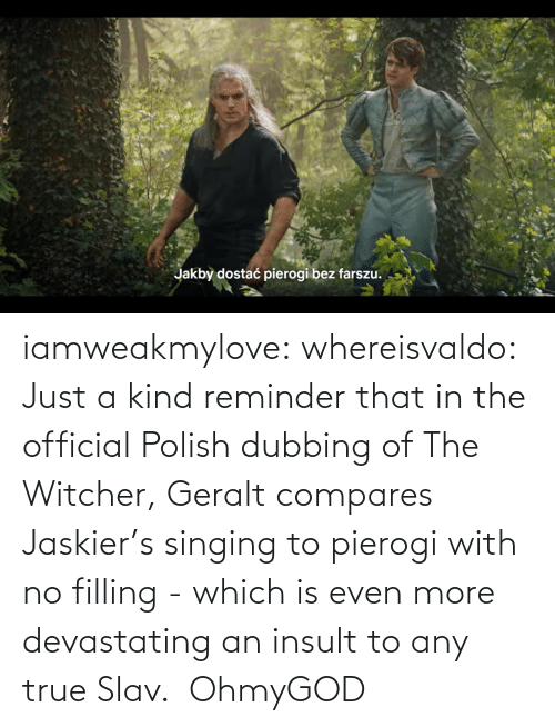 Singing: iamweakmylove:  whereisvaldo:  Just a kind reminder that in the official Polish dubbing of The Witcher, Geralt compares Jaskier's singing to pierogiwith no filling- which is even more devastating an insult to any true Slav.   OhmyGOD