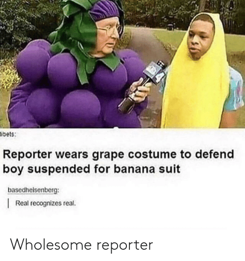 Banana, Wholesome, and Boy: ibets:  Reporter wears grape costume to defend  boy suspended for banana suit  basedhelsenberg:  Real recognizes real. Wholesome reporter
