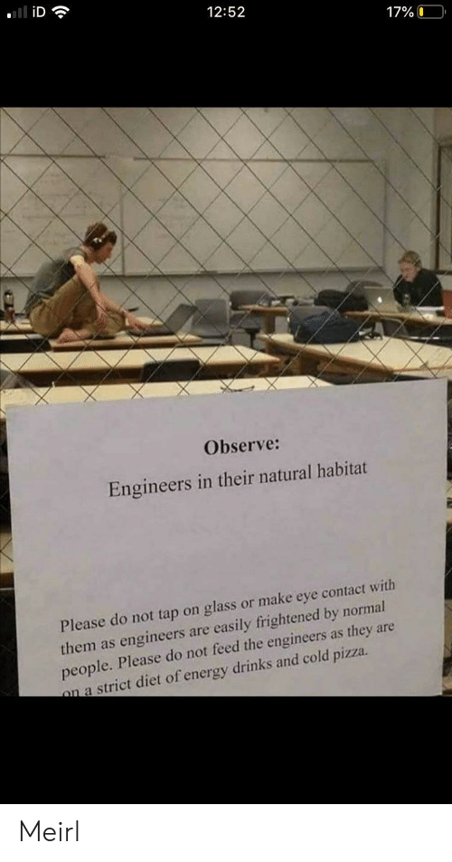 Please Do: iD  12:52  17%O  Observe:  Engineers in their natural habitat  Please do not tap on glass or make eye contact with  them as engineers are easily frightened by normal  people. Please do not feed the engineers as they are  on a strict diet of energy drinks and cold pizza. Meirl