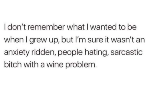 Bitch, Wine, and Anxiety: Idon't remember what I wanted to be  when I grew up, but I'm sure it wasn't an  anxiety ridden, people hating, sarcastic  bitch with a wine problem.