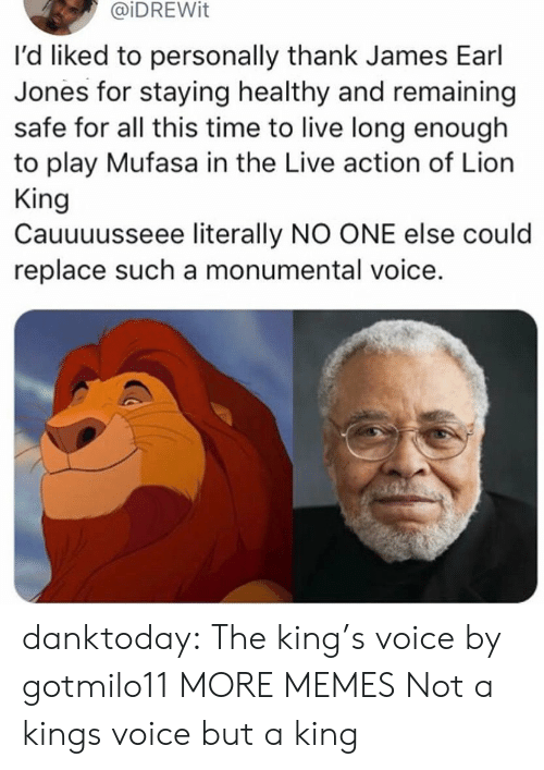 Dank, Memes, and Tumblr: @iDREWit  l'd liked to personally thank James Earl  Jones for staying healthy and remaining  safe for all this time to live long enough  to play Mufasa in the Live action of Lion  King  Cauuuusseee literally NO ONE else could  replace such a monumental voice. danktoday:  The king's voice by gotmilo11 MORE MEMES  Not a kings voice but a king