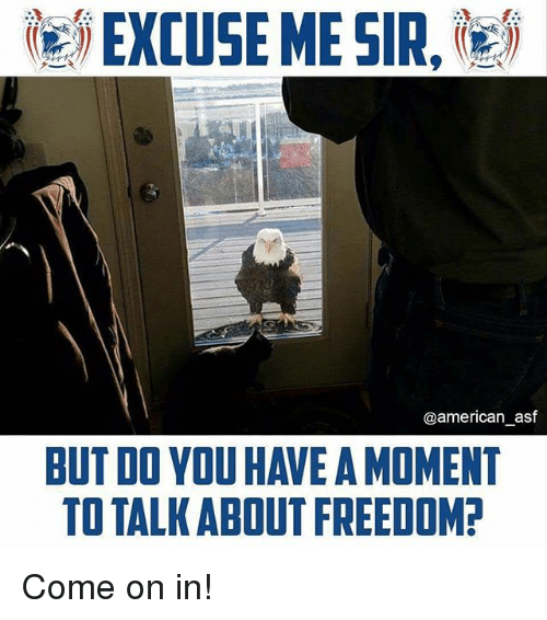 Memes, American, and Freedom: ie) EXCUSE ME SIR,les  @american_asf  BUT DO YOU HAVE A MOMENT  TO TALK ABOUT FREEDOM Come on in!