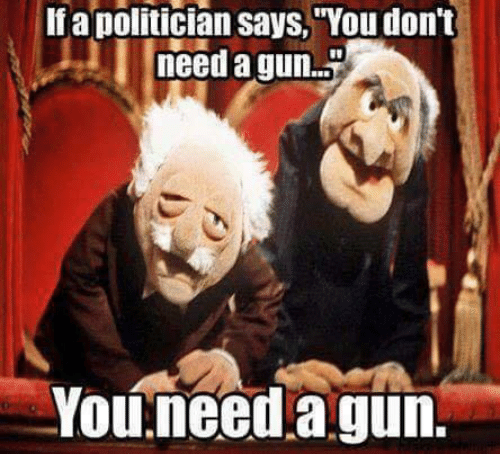 "Memes, 🤖, and Gun: If a politician says,""You don't  need a gun...  You.need a gun."