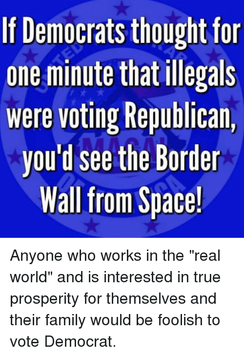 """Voting Republican: If Democrats thought for  one minute that illegals  were voting Republican,  you'd see the Border  Wall from Space! Anyone who works in the """"real world"""" and is interested in true prosperity for themselves and their family would be foolish to vote Democrat."""