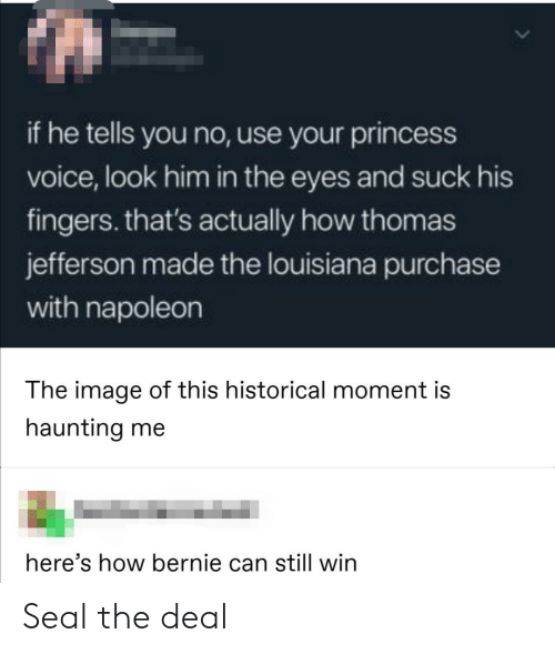 Bernie: if he tells you no, use your princess  voice, look him in the eyes and suck his  fingers. that's actually how thomas  jefferson made the louisiana purchase  with napoleon  The image of this historical moment is  haunting me  here's how bernie can still win Seal the deal