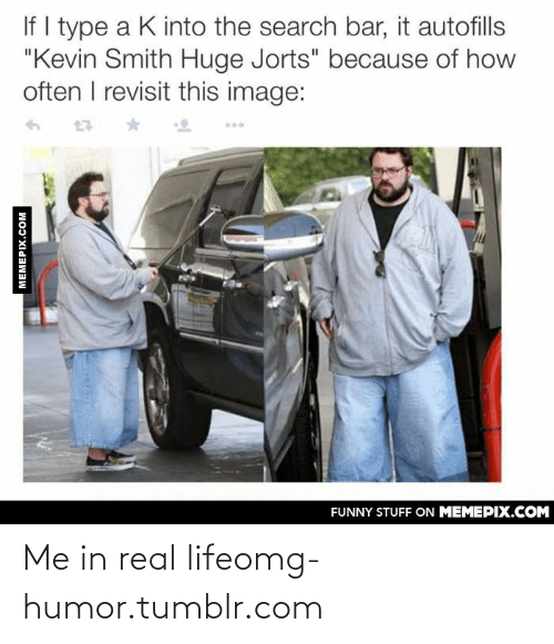 """Kevin Smith Huge Jorts: If I type a K into the search bar, it autofills  """"Kevin Smith Huge Jorts"""" because of how  often I revisit this image:  FUNNY STUFF ON MEMEPIX.COM  MEMEPIX.COM Me in real lifeomg-humor.tumblr.com"""