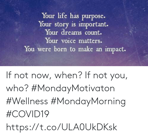 Love for Quotes: If not now, when? If not you, who?  #MondayMotivaton #Wellness  #MondayMorning #COVID19 https://t.co/ULA0UkDKsk