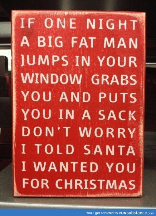 Christmas, Addicted, and Santa: IF ONE NIGHT  A BIG FAT MAN  JUMPS IN YOUR  WINDOW GRABS  YOU AND PUTS  YOU IN A SACK  DON'T WORRY  I TOLD SANTA  I WANTED YOU  FOR CHRISTMAS  You'll get addicted to FUNSubstance.com