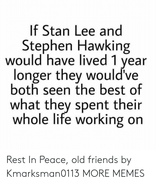 stephen hawking: If Stan Lee and  Stephen Hawking  would have lived 1 year  longer they would've  both seen the best of  what they spent their  whole life working on Rest In Peace, old friends by Kmarksman0113 MORE MEMES