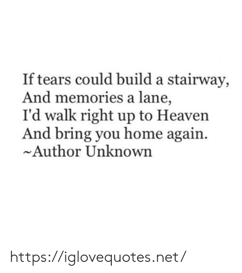 unknown: If tears could build a stairway,  And memories a lane,  I'd walk right up to Heaven  And bring you home again  Author Unknown https://iglovequotes.net/
