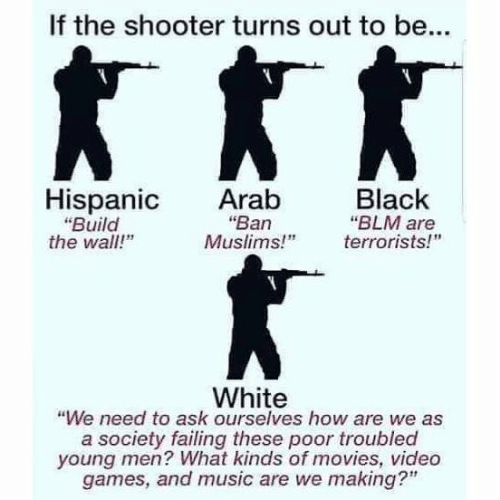 """Blm: If the shooter turns out to be...  Hispanic Arab  Black  """"Ban  """"Build  the wall!""""  """"BLM are  Muslims!"""" errorists!  White  """"We need to ask ourselves how are we as  a society failing these poor troubled  young men? What kinds of movies, video  games, and music are we making?"""""""