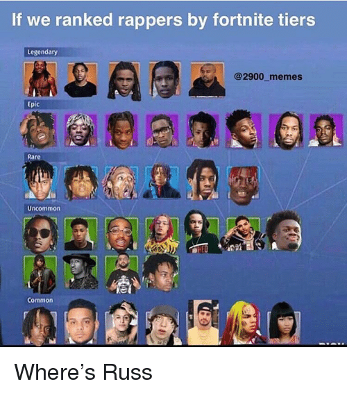 Memes, Common, and Dank Memes: If we ranked rappers by fortnite tiers  Legendary  @2900 memes  Epic  Uncommon  Common Where's Russ