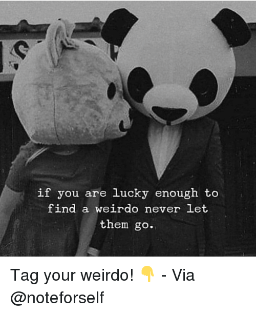 Memes, Never, and 🤖: if you are lucky enough to  find a weirdo never Let  them go. Tag your weirdo! 👇 - Via @noteforself