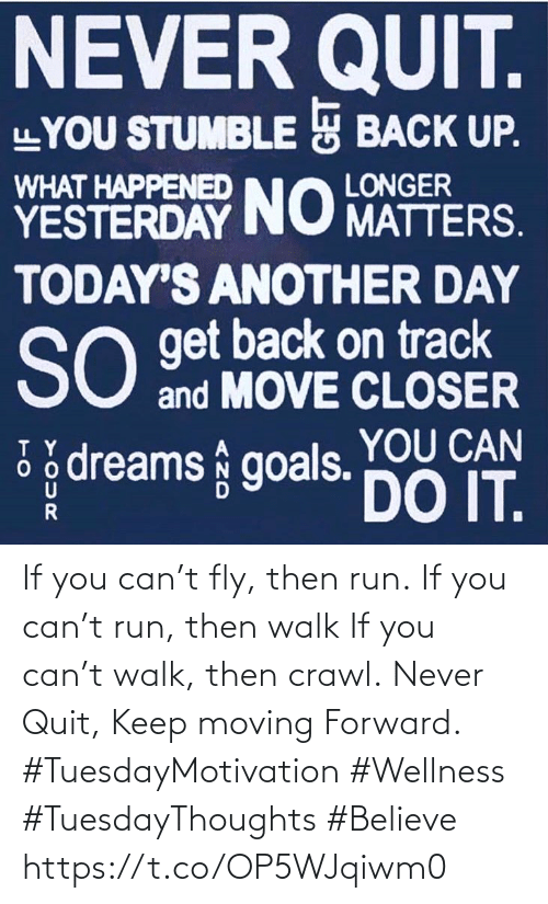 Love for Quotes: If you can't fly, then run. If you can't run, then walk If you can't walk, then crawl. Never Quit, Keep moving Forward.  #TuesdayMotivation #Wellness  #TuesdayThoughts   #Believe https://t.co/OP5WJqiwm0