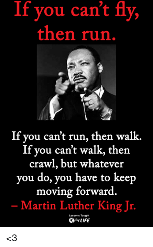 Martin, Martin Luther King Jr., and Memes: If you can't fly,  then run  If you can't run, then walk.  If you can't walk, then  crawl, but whatever  you do, you have to keep  moving forward  Martin Luther King Jr  Lessons Taught  ByLIFE <3