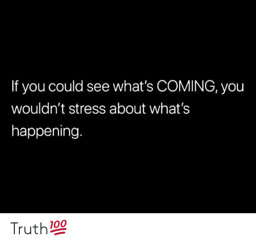 Truth, Hood, and Stress: If you could see what's COMING, you  wouldn't stress about what's  happening Truth💯