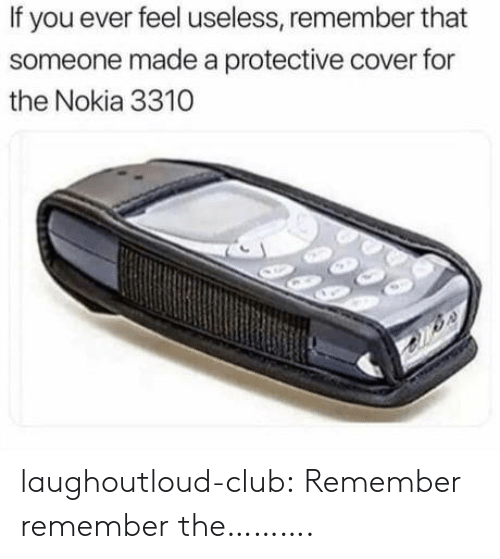 Feel Useless: If you ever feel useless, remember that  someone made a protective cover for  the Nokia 3310 laughoutloud-club:  Remember remember the……….