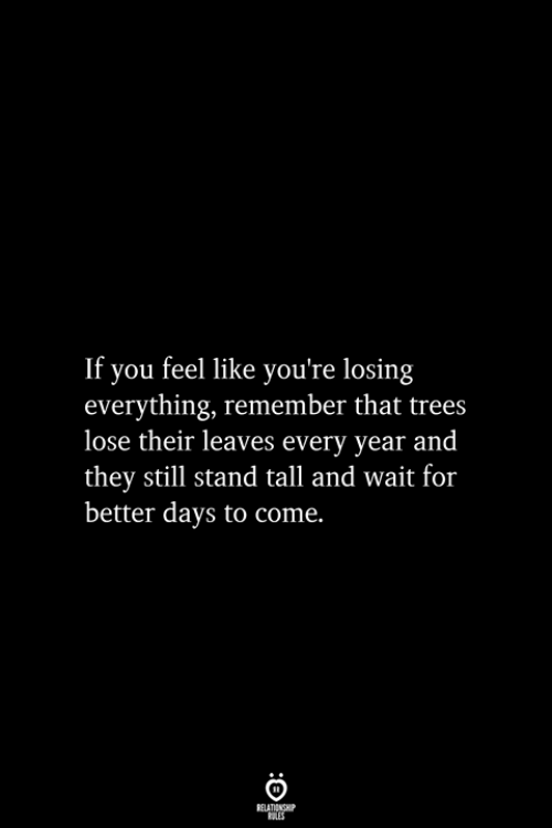 Trees, Remember, and They: If you feel like you're losing  everything, remember that trees  lose their leaves every year and  they still stand tall and wait for  better days to come.  RELATIONSHIP  ES