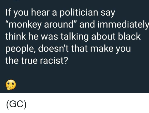 "Memes, True, and Black: If you hear a politician say  ""monkey around"" and immediately  think he was talking about black  people, doesn't that make you  the true racist? (GC)"