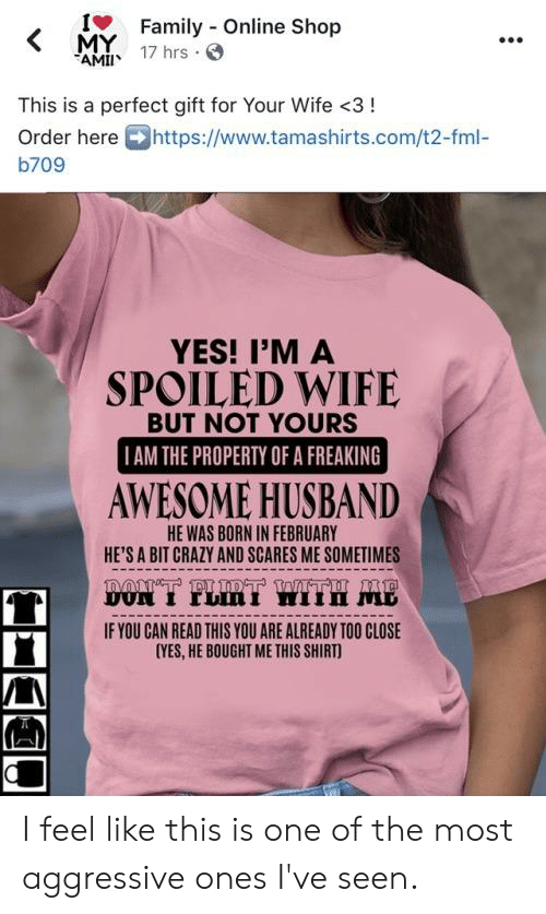 Crazy, Fml, and Husband: IFamily Online Shop  MY  AM 17 hrs  This is a perfect gift for Your Wife <3!  Order here https://www.tamashirts.com/t2-fml-  b709  YES! I'M A  SPOILED WIFE  BUT NOT YOURS  I AM THE PROPERTY OF A FREAKING  AWESOME HUSBAND  HE WAS BORN IN FEBRUARY  HE'S A BIT CRAZY AND SCARES ME SOMETIMES  LmT WITH MB  noT PI DT W  DUN I TLIN I  IF YOU CAN READ THIS YOU ARE ALREADY TOO CLOSE  CYES, HE BOUGHT ME THIS SHIRT) I feel like this is one of the most aggressive ones I've seen.