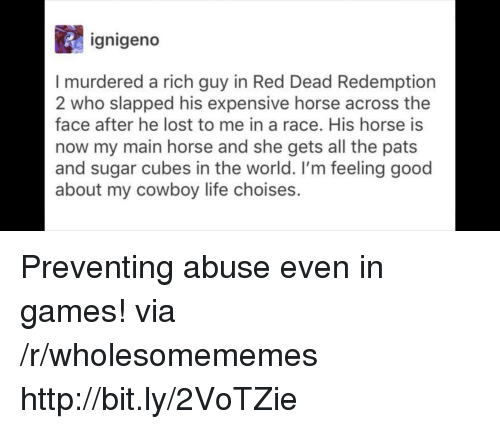 Life, Lost, and Games: ignigeno  I murdered a rich guy in Red Dead Redemption  2 who slapped his expensive horse across the  face after he lost to me in a race. His horse is  now my main horse and she gets all the pats  and sugar cubes in the world. I'm feeling good  about my cowboy life choises. Preventing abuse even in games! via /r/wholesomememes http://bit.ly/2VoTZie