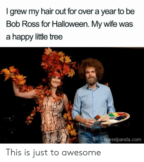 Halloween, Bob Ross, and Hair: Igrew my hair out for over a year to be  Bob Ross for Halloween. My wife was  a happy little tree  boredpanda.com This is just to awesome