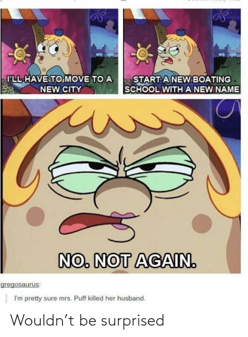 Husband: I'LL HAVE TO MOVE TO A  START A NEW BOATING  SCHOOL WITH A NEW NAME  NEW CITY  NO. NOT AGAIN.  gregosaurus:  I'm pretty sure mrs. Puff killed her husband. Wouldn't be surprised