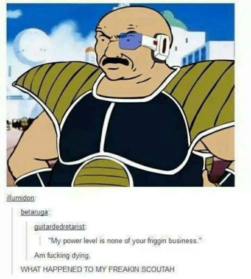 """Business, Power, and Level: illumidon  betaruga  guitardedretarist  """"My power level is none of your friggin business.""""  Am fucking dying.  WHAT HAPPENED TO MY FREAKIN SCOUTAH"""