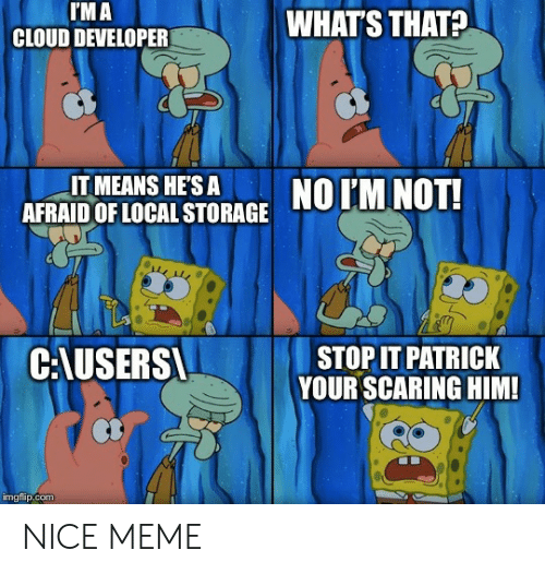 Meme, Cloud, and Nice: I'M A  CLOUD DEVELOPER  WHAT'S THAT?  IT MEANS HE'S A  AFRAID OF LOCAL STORAGE  NO IM NOT!  C:AUSERS  STOP IT PATRICK  YOUR SCARING HIM!  imgflip.com NICE MEME
