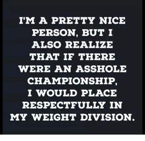 Memes, Nice, and Asshole: I'M A PRETTY NICE  PERSON, BUT I  ALSO REALIZE  THAT IF THERE  WERE AN ASSHOLE  CHAMPIONSHIP  I WOULD PLACE  RESPECTFULLY IN  MY WEIGHT DIVISION