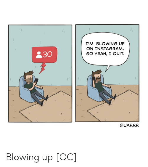 I Quit: I'M BLOWING UP  ON INSTAGRAM,  SO YEAH, I QUIT.  830  @UARRR Blowing up [OC]