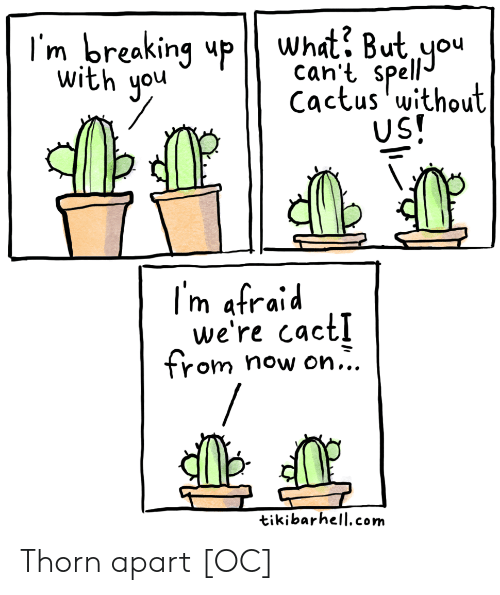 Com, Cactus, and You: I'm breaking upWhat? But you  can't spell  Cactus without  US!  with you  I'm afraid  we're cact!  from  now on...  tikibarhell.com Thorn apart [OC]