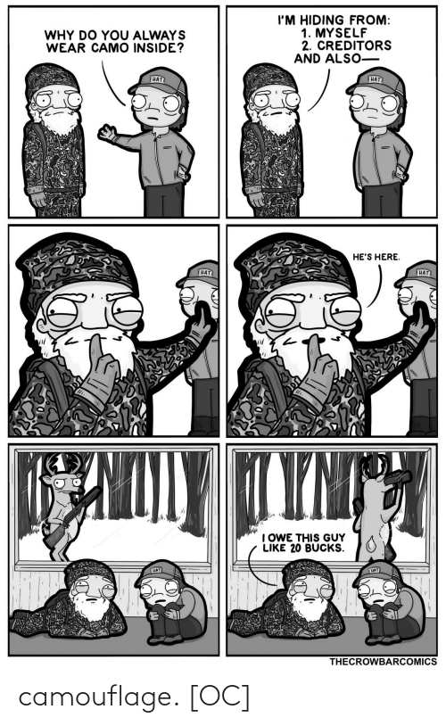 hat: I'M HIDING FROM:  1. MYSELF  2. CREDITORS  AND ALSO-  WHY DO YOU ALWAYS  WEAR CAMO INSIDE?  HAT  HAT  HE'S HERE.  HAT  HAT  TYNT  I OWE THIS GUY  LIKE 20 BUCKS.  HAT  HAT  THECROWBARCOMICS camouflage. [OC]
