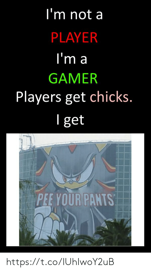 Player, Gamer, and Get: I'm not a  PLAYER  l'm a  GAMER  Players get chicks  l get  PEE YOUR PANTS https://t.co/IUhIwoY2uB