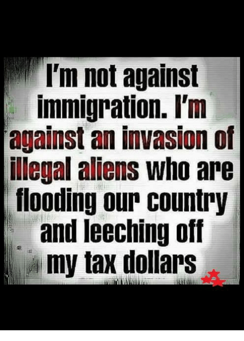Illegal Alien: I'm not against  immigration. I'm  against an invasion of  illegal aliens who are  flooding our country  and leeching off  my tax dollars