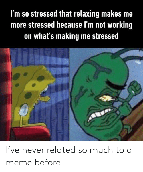 stressed: I'm so stressed that relaxing makes me  more stressed because l'm not working  on what's making me stressed I've never related so much to a meme before