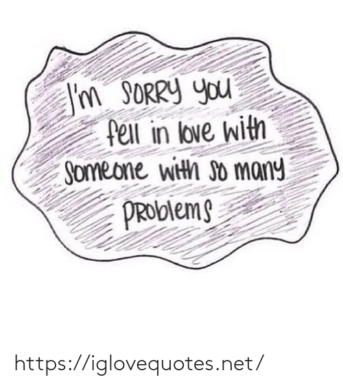 So Many: I'm SORRY you  fell in love with  Someone with so many  PROblems https://iglovequotes.net/
