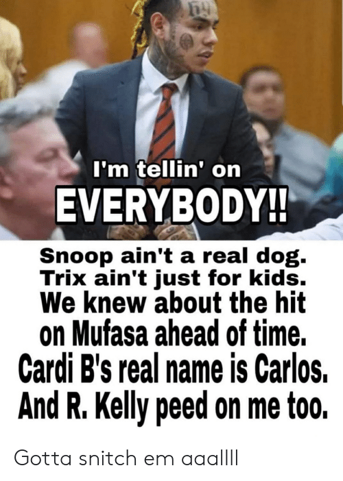 R. Kelly, Snitch, and Snoop: I'm tellin' on  EVERYBODY!  Snoop ain't a real dog.  Trix ain't just for kids.  We knew about the hit  on Mufasa ahead of time.  Cardi B's real name is Carlos.  And R. Kelly peed on me too. Gotta snitch em aaallll