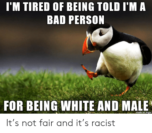 Bad, Imgur, and White: I'M TIRED OF BEING TOLD I'M A  BAD PERSON  FOR BEING WHITE AND MALE  made on imgur It's not fair and it's racist