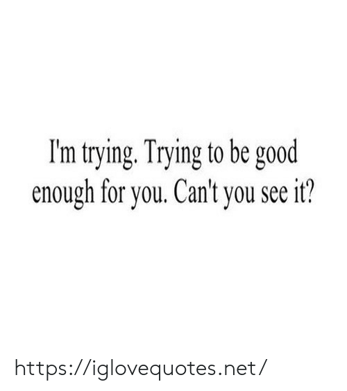 Good, Net, and You: I'm trying. Trying to be good  enough for you. Can't you seeit? https://iglovequotes.net/