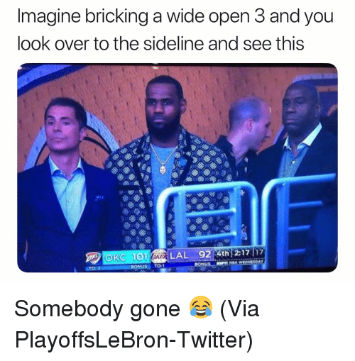 Basketball, Nba, and Sports: Imagine bricking a wide open 3 and you  look over to the sideline and see this  TO:1 Somebody gone 😂 (Via PlayoffsLeBron-Twitter)