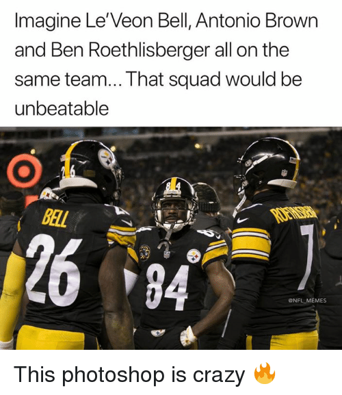 Ben Roethlisberger, Crazy, and Memes: Imagine Le'Veon Bell, Antonio Brown  and Ben Roethlisberger all on the  same team... That squad would be  unbeatable  BAL  2684  @NFL MEMES This photoshop is crazy 🔥