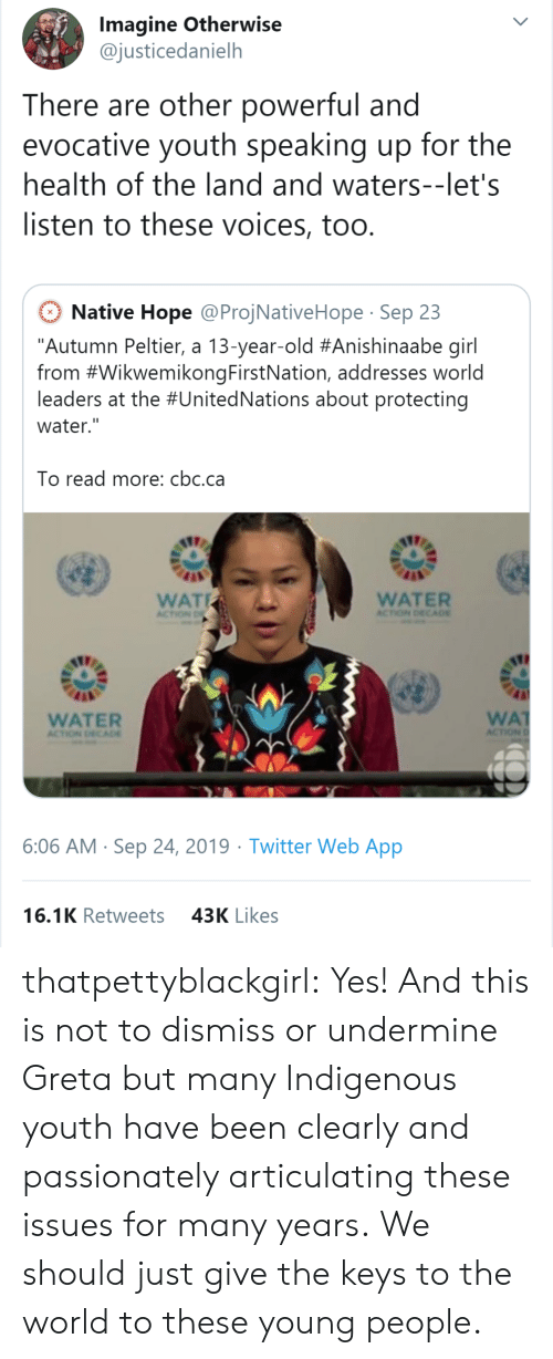 """13 Year Old: Imagine Otherwise  @justicedanielh  There are other powerful and  evocative youth speaking up for the  health of the land and waters--let's  listen to these voices, too.  Native Hope @ProjNativeHope Sep 23  """"Autumn Peltier, a 13-year-old #Anishinaabe girl  from #WikwemikongFirstNation, addresses world  leaders at the #UnitedNations about protecting  water.""""  To read more: cbc.ca  WAT  WATER  ACTION DECA0E  ACTION D  WA  ACTION  WATER  ACTION DECADE  6:06 AM Sep 24, 2019 Twitter Web App  16.1K Retweets  43K Likes thatpettyblackgirl:  Yes! And this is not to dismiss or undermine Greta but many Indigenous youth have been clearly and passionately articulating these issues for many years.    We should just give the keys to the world to these young people."""