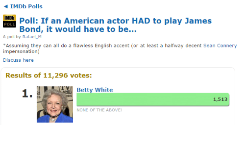Betty White, James Bond, and American: IMDb Polls  IMDb  POLL  Poll: If an American actor HAD to play James  Bond, it would have to be  A poll by Rafael_M  Assuming they can all do a flawless English accent (or at least a halfway decent Sean Connery  impersonation)  Discuss here  Results of 11,296 votes:  1.  Betty White  os  1,513  NONE OF THE ABOVE