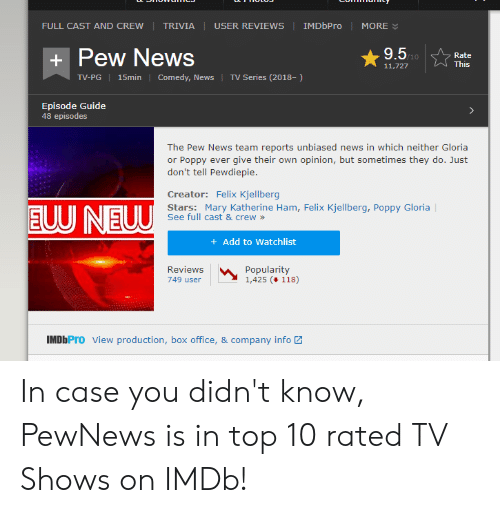 News, TV Shows, and Box Office: IMDbPro  FULL CASTAND CREW  TRIVIA  USER REVIEWS  MORE  9.5M  Pew News  Rate  +  This  11,727  Comedy, News  TV Series (2018-)  TV-PG 15min  Episode Guide  48 episodes  The Pew News team reports unbiased news in which neither Gloria  or Poppy ever give their own opinion, but sometimes they do. Just  don't tell Pewdiepie  Creator: Felix Kjellberg  EUU NEUU  Stars: Mary Katherine Ham, Felix Kjellberg, Poppy Gloria  See full cast & crew  Add to Watchlist  Reviews  Popularity  1,425 (118)  749 user  IMDbPro View production, box office, & company info In case you didn't know, PewNews is in top 10 rated TV Shows on IMDb!
