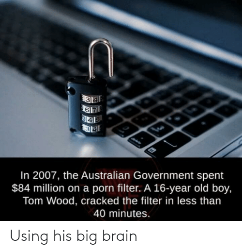 Porn: In 2007, the Australian Government spent  $84 million on a porn filter. A 16-year old boy,  Tom Wood, cracked the filter in less than  40 minutes. Using his big brain