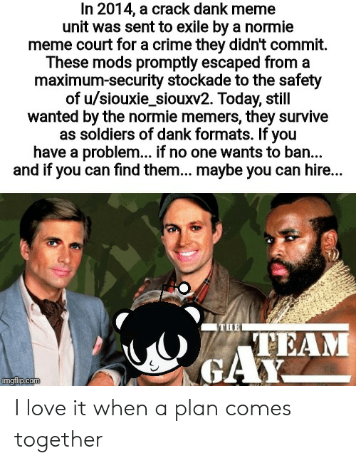 Crime, Dank, and Love: In 2014, a crack dank meme  unit was sent to exile by a normie  meme court for a crime they didn't commit.  These mods promptly escaped from a  maximum-security stockade to the safety  of u/siouxie_siouxv2. Today, still  wanted by the normie memers, they survive  as soldiers of dank formats. If you  have a problem... if no one wants to ba...  and if you can find them... maybe you can hire...  THE  TEAM  GAY  imgflip.com I love it when a plan comes together